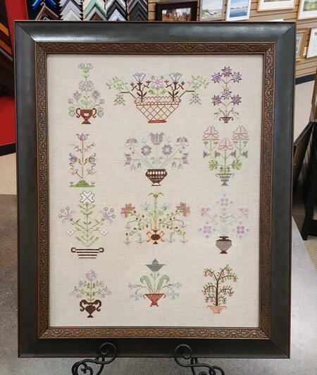 Linen counted cross stitch and lacing